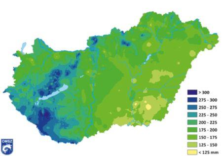 3. ábra: a 2013-as tél csapadékösszegei