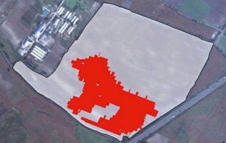 Piros szín: Széltippan elleni foltszerű  kezelés. Terület: 54 ha, kezelt terület 12,5 ha