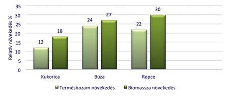 TYTANIT hatása a relatív terméshozam növekedésre kukoricában, búzában és repcében valamint a biomassza felső részének növekedésére, Tarnów, Karzinczka, 2012