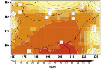 Az elsőfokú hőségriadós napok számának várható változása 2021-2050. időszakban az 1961-1990. periódushoz képest