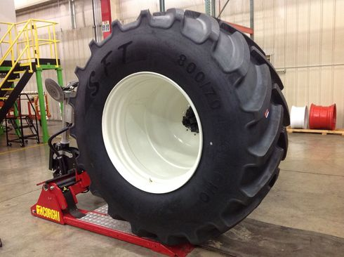 The new tyre mounting area set up for the Saskatoon project. Author: Gaylen Hicok 2015.