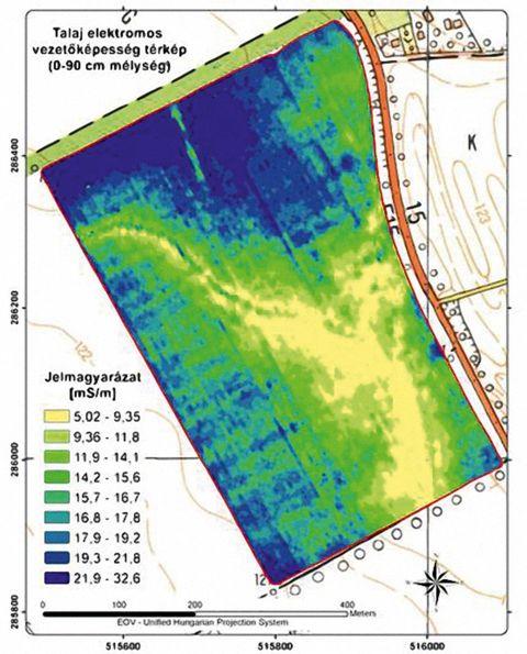 1. ábra: a talaj elektromos vezetőképességét mutató térkép